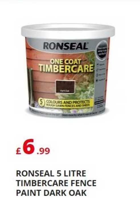 Poundstretcher Ronseal 5 Litre Timbercare Fence Paint Dark Oak