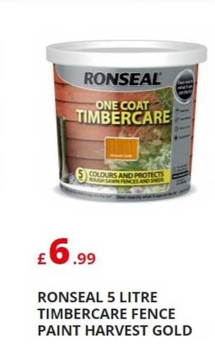 Poundstretcher Ronseal 5 Litre Timbercare Fence Paint Harvest Gold