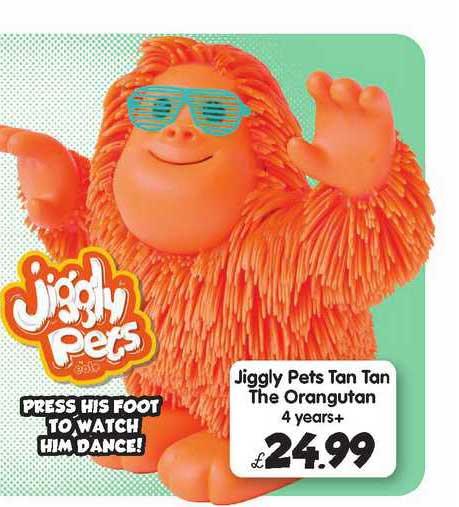 Toymaster Jiggly Pets Tan Tan The Orangutan 4 Years+