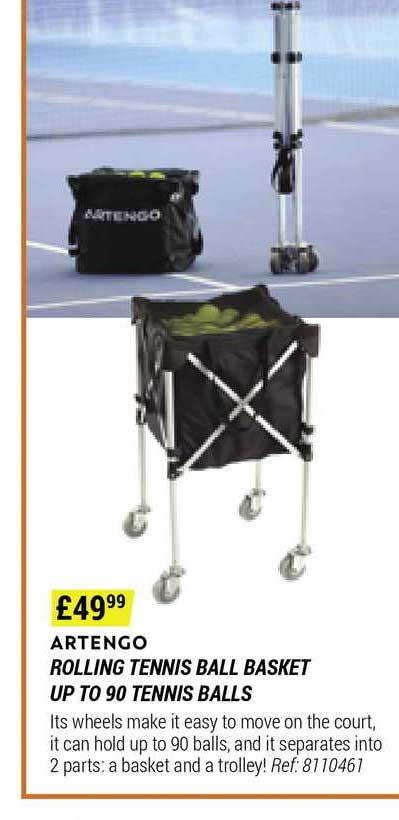 Decathlon Artengo Rolling Tennis Ball Basket Up To 90 Tennis Balls