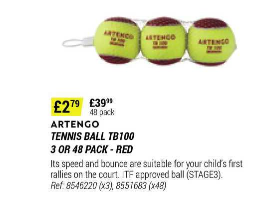 Decathlon Artengo Tennis Ball Tb100 3 Pr 48 Pack - Red