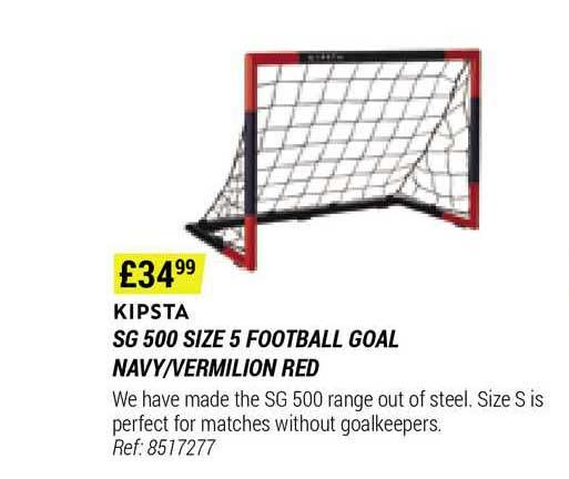 Decathlon Kipsta Sg 500 Size 5 Football Goal Navy-vermilion Red