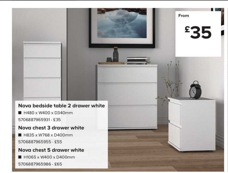 TradePoint Nova Bedside Table 2 Drawer White , Nova Chest 3 Drawer White , Nova Chest 5 Drawer White