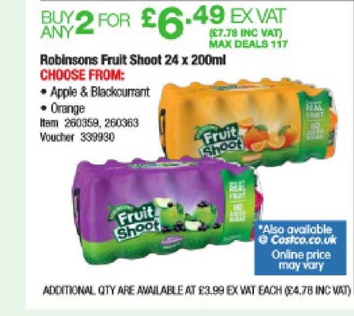 Costco Robinsons Fruit Shoot 24 X 200ml