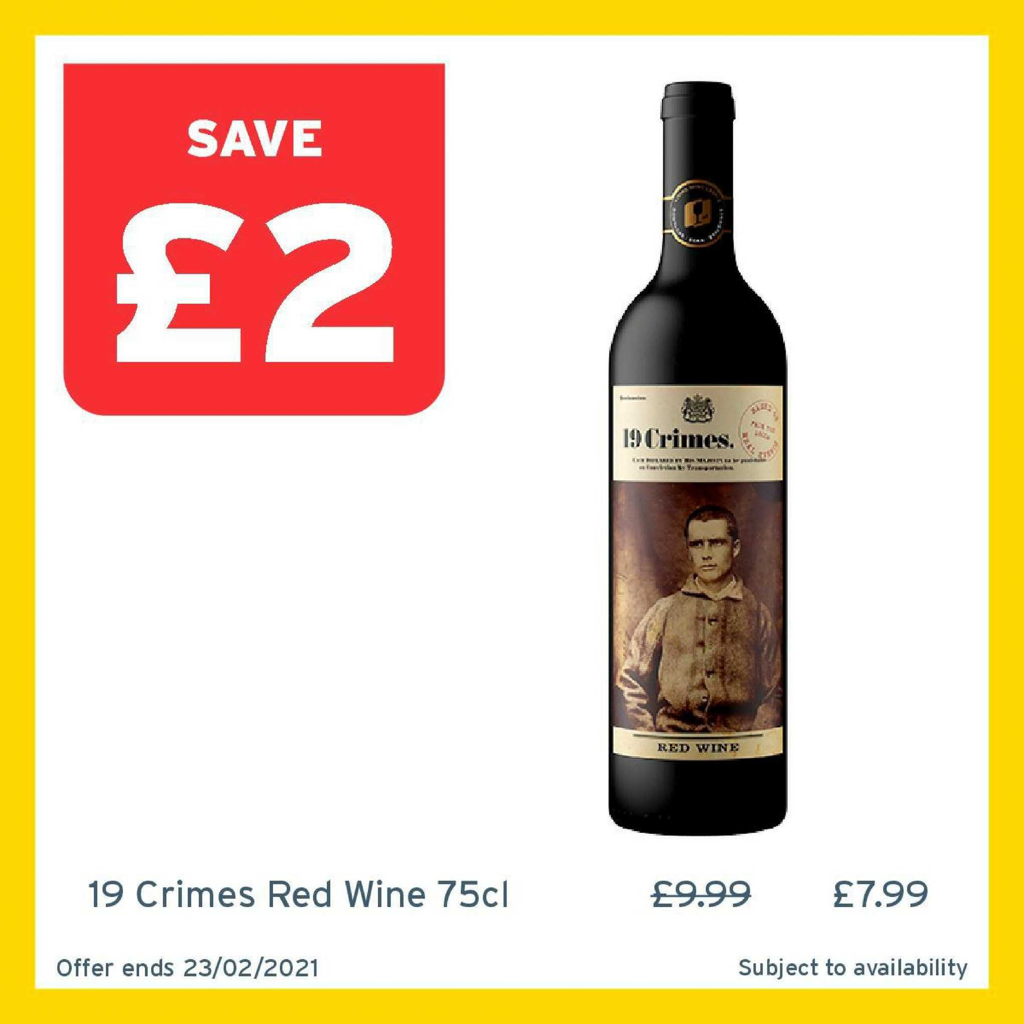 One Stop 19 Crimes Red Wine 75cl