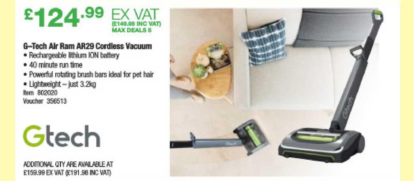 Costco G-Tech Air Ram AR29 Cordless Vacuum