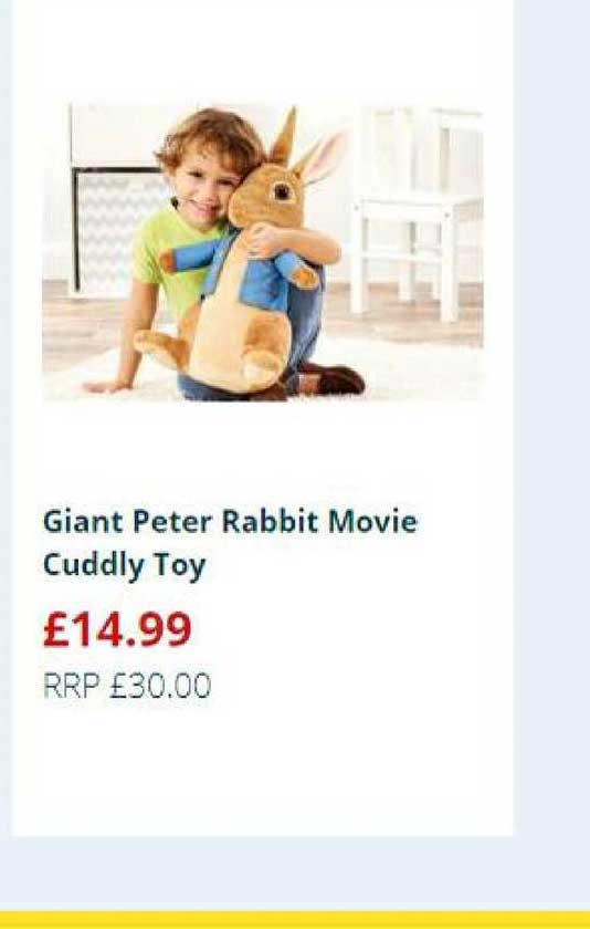 Home Bargains Giant Peter Rabbit Movie Cuddly Toy