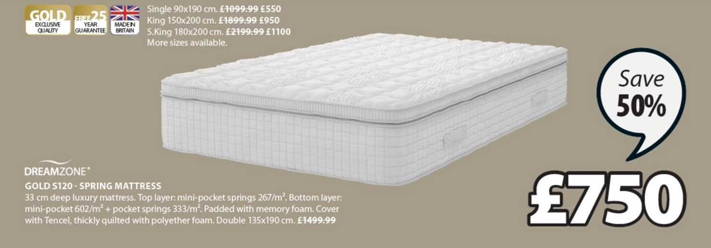 JYSK Dreamzone Gold S120 - Spring Mattress
