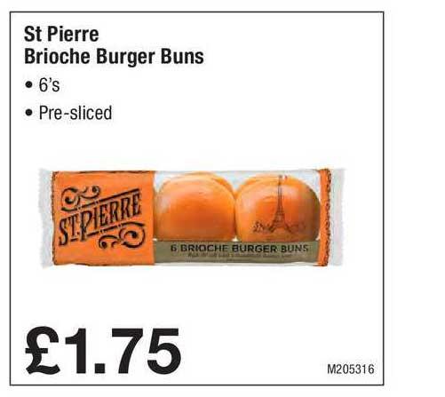 Booker Wholesale St Pierre Brioche Burger Buns