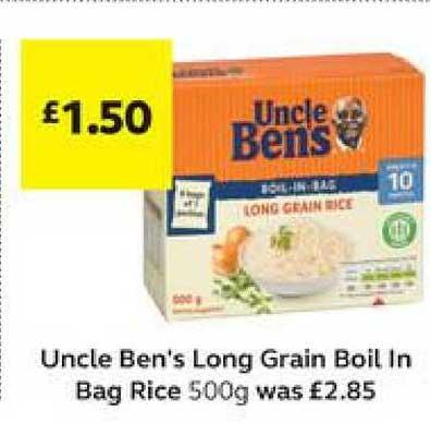 SuperValu Uncle Ben's Long Grain Boil In Bag Rice 500g