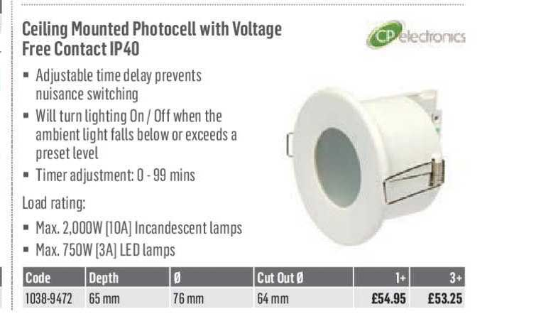 City Electrical Factors Ceiling Mounted Photocell With Voltage Free Contact IP40
