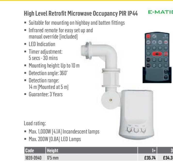 City Electrical Factors E-MATIC High Level Retrofit Microwave Occupancy PIR IP44