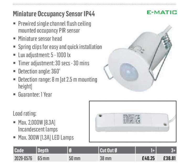City Electrical Factors E-MATIC Miniature Occupancy Sensor IP44