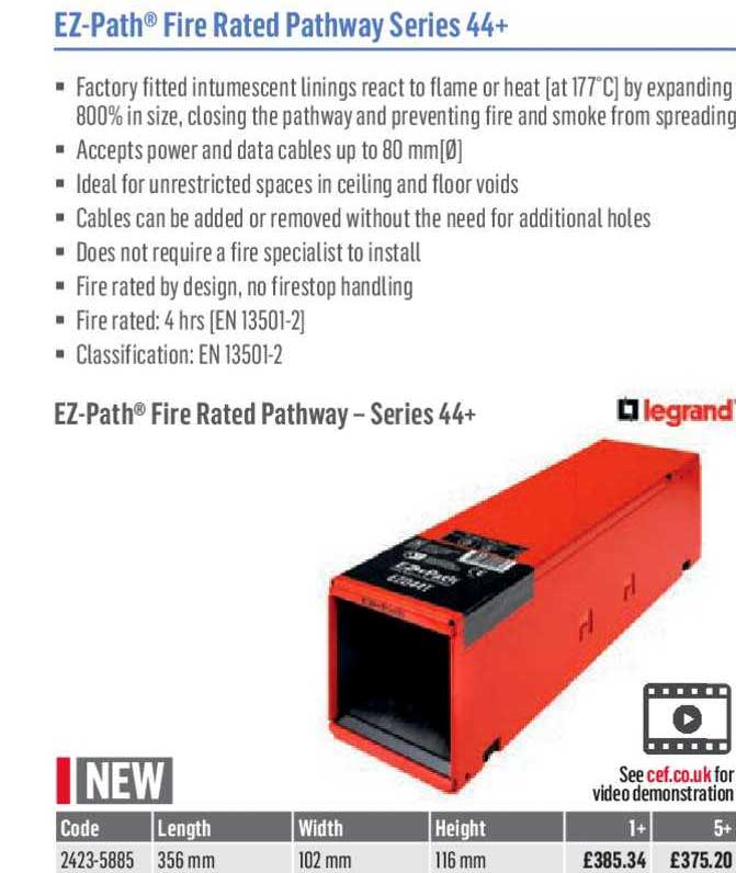 City Electrical Factors EZ-Path Fire Rated Pathway Series 44+