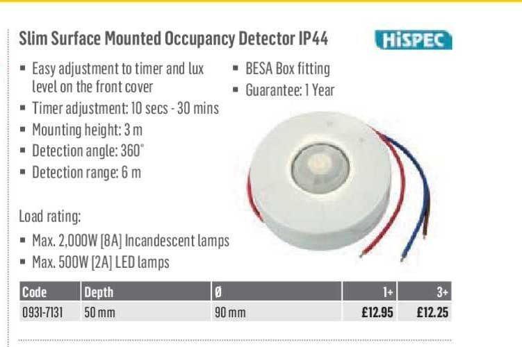 City Electrical Factors HISPEC Slim Surface Mounted Occupancy Detector IP44