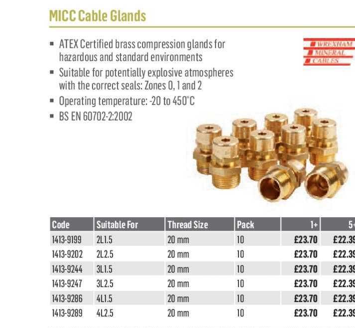 City Electrical Factors MICC Cable Glands