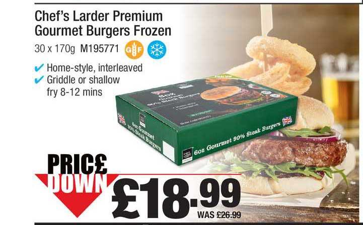 Makro Chef's Larder Premium Gourmet Burgers Frozen