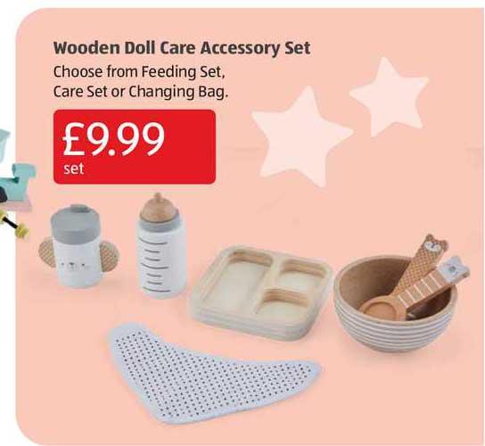 Aldi Wooden Doll Care Accessory Set