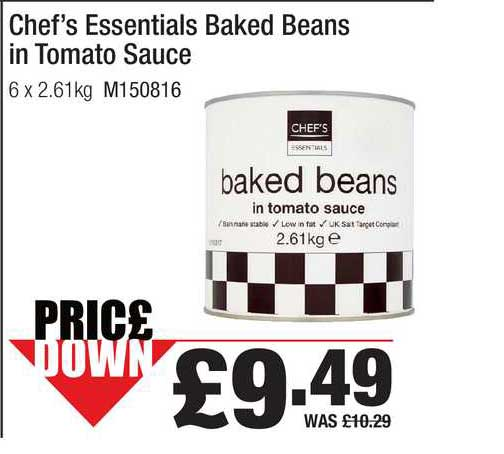 Booker Wholesale Chef's Essentials Baked Beans In Tomato Sauce