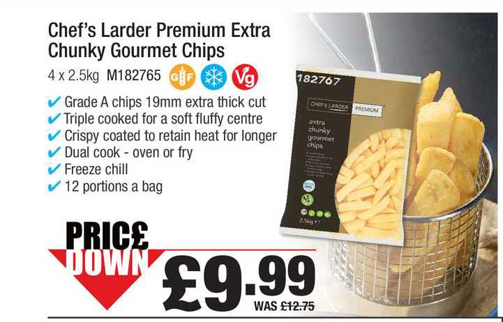 Booker Wholesale Chef's Larder Premium Extra Chunky Gourmet Chips