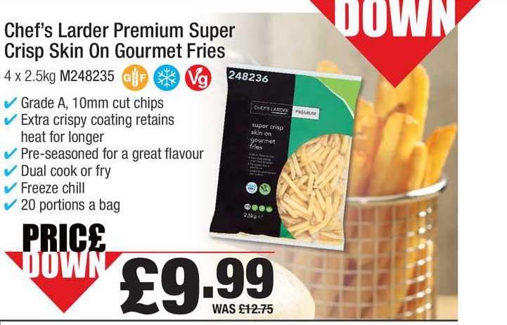 Booker Wholesale Chef's Larder Premium Super Crisp Skin On Gourmet Fries
