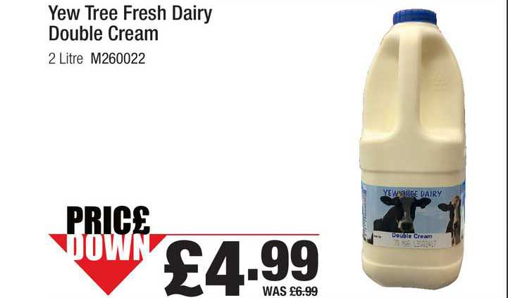 Booker Wholesale Yew Tree Fresh Dairy Double Cream
