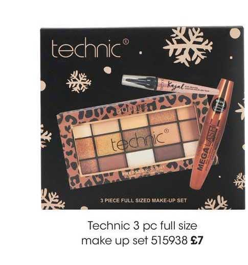 Wilko Technic 3 Pc Full Size Make Up Set
