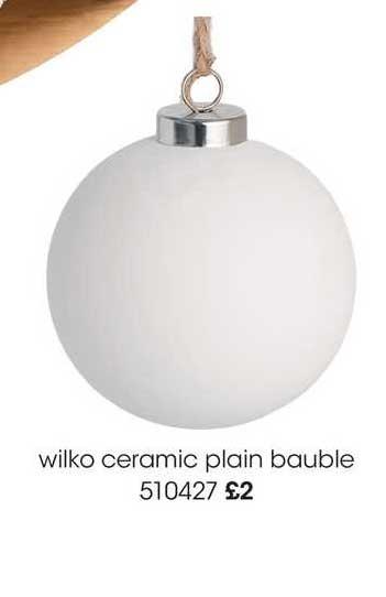 Wilko Wilko Ceramic Plain Bauble