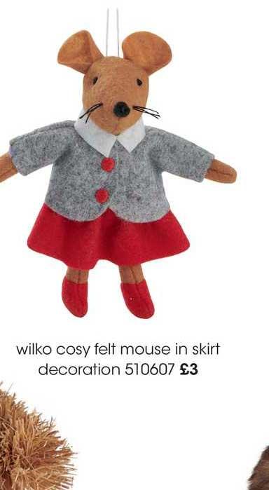 Wilko Wilko Cosy Felt Mouse In Skirt Decoration