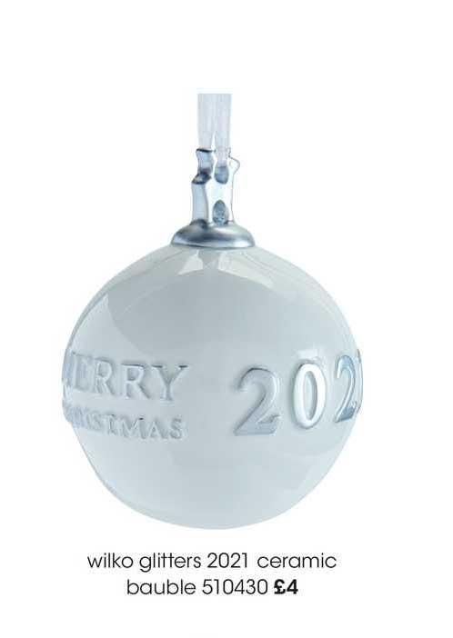 Wilko Wilko Glitters 2021 Ceramic Bauble