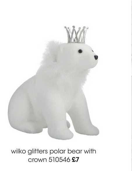 Wilko Wilko Glitters Polar Bear With Crown