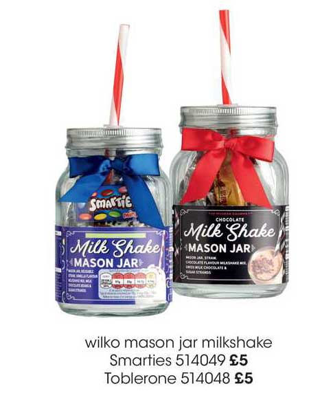 Wilko Wilko Mason Jar Milkshake Smarties, Toblerone