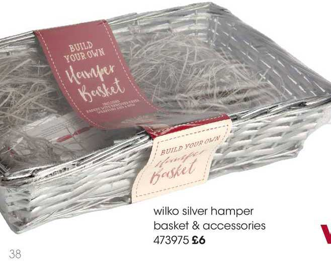 Wilko Wilko Silver Hamper Basket & Accessories