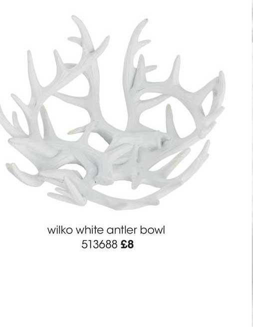 Wilko Wilko White Antler Bowl