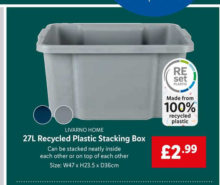 Lidl Livarno Home 27l Recycled Plastic Stacking Box