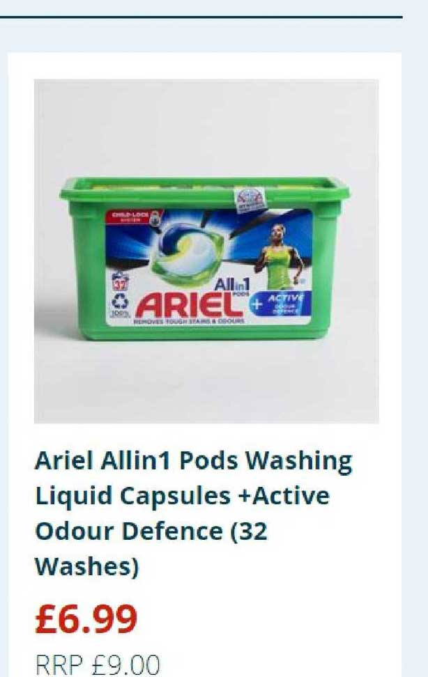 Home Bargains Ariel Allin1 Pods Washing Liquid Capsules +active Odour Defence (32 Washes)