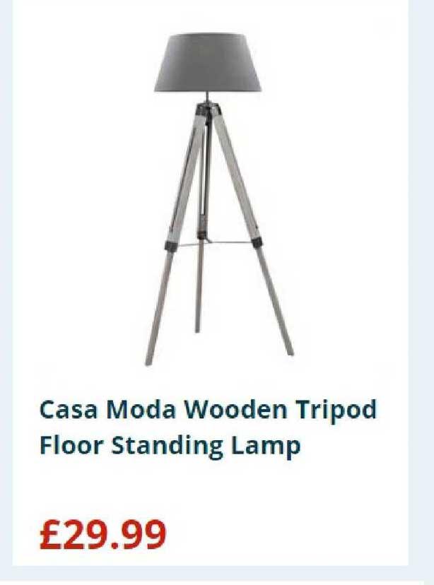 Home Bargains Casa Moda Wooden Tripod Floor Standing Lamp