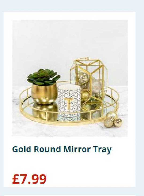 Home Bargains Gold Round Mirror Tray