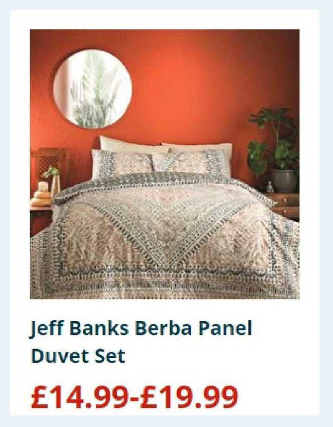 Home Bargains Jeff Banks Berba Panel Duvet Set