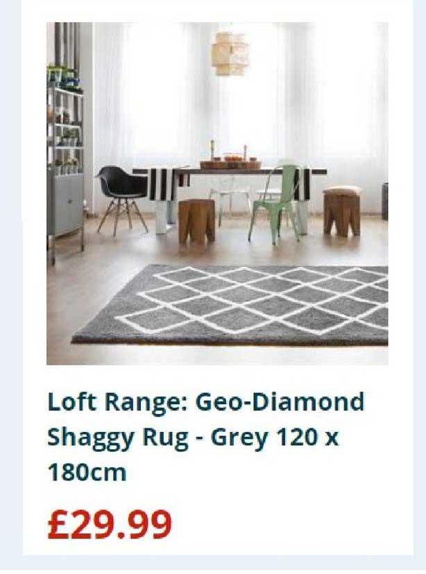 Home Bargains Loft Range: Geo-diamond Shaggy Rug - Grey 120 X 180cm