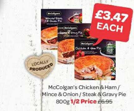 Spar Mccolgan's Chicken & Ham - Mince & Onion - Steak & Gravy Pie
