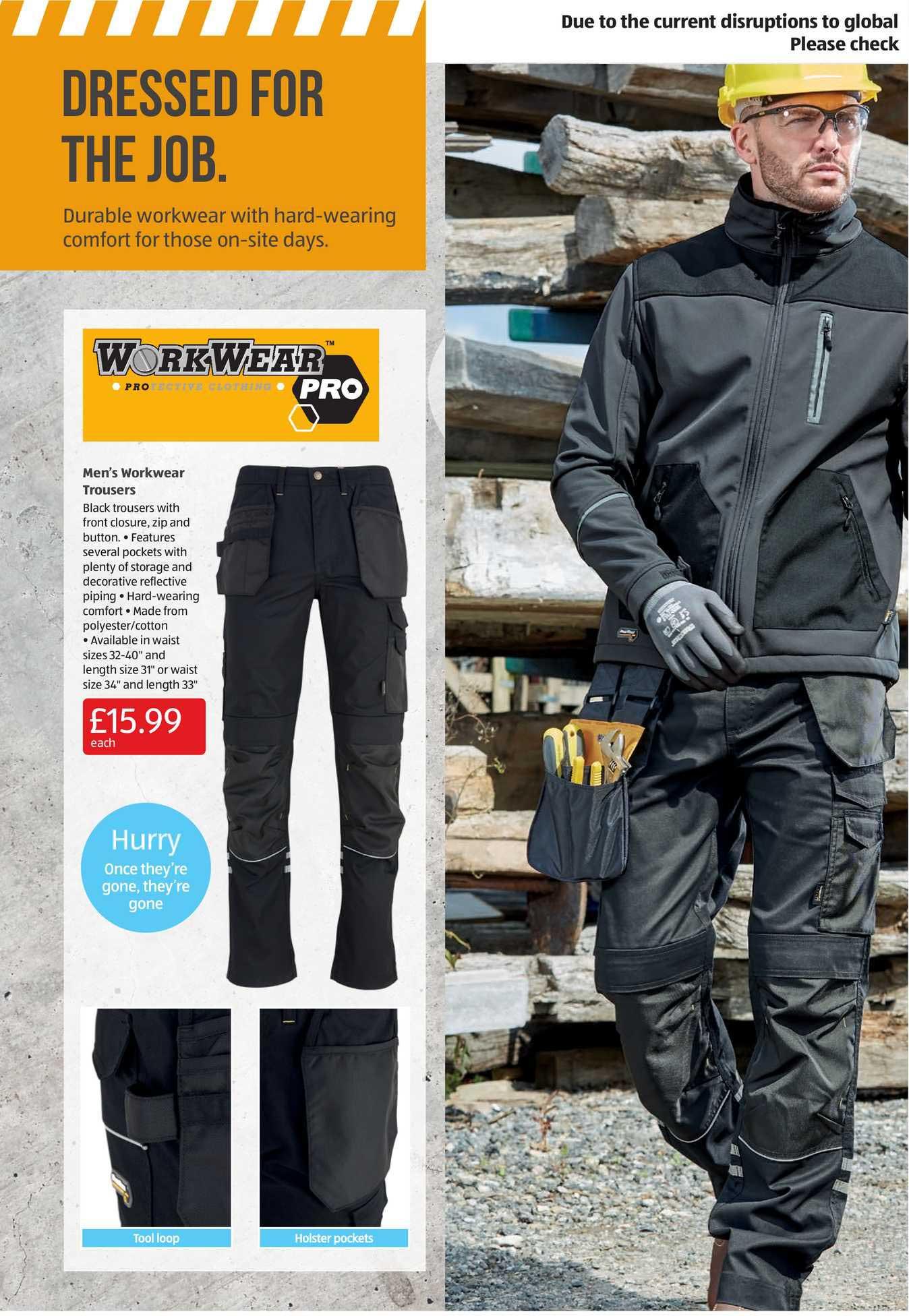 Aldi Men's Workwear Trousers