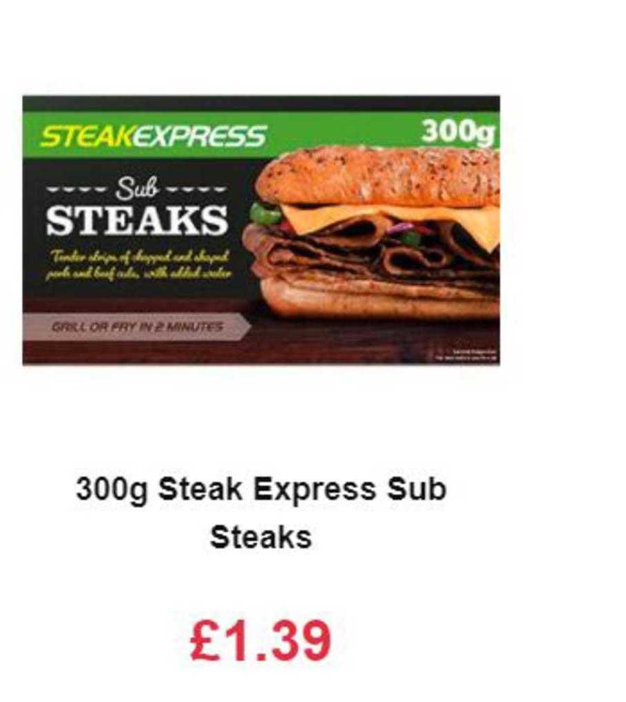 Farmfoods 300g Steak Express Sub Steaks