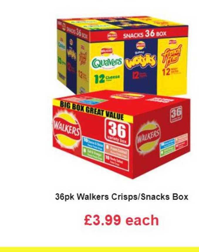 Farmfoods 36pk Walkers Crisp-Snacks Box