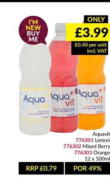 Musgrave MarketPlace Aquavit Lemon , Mixed Berry , Orange 12 X 500ml