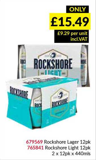 Musgrave MarketPlace Rockshore Lager 12Pk Rockshore Light 12Pk