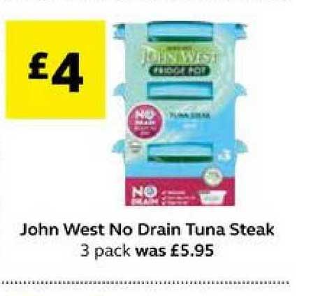 SuperValu John West No Drain Tuna Steak 3 Pack