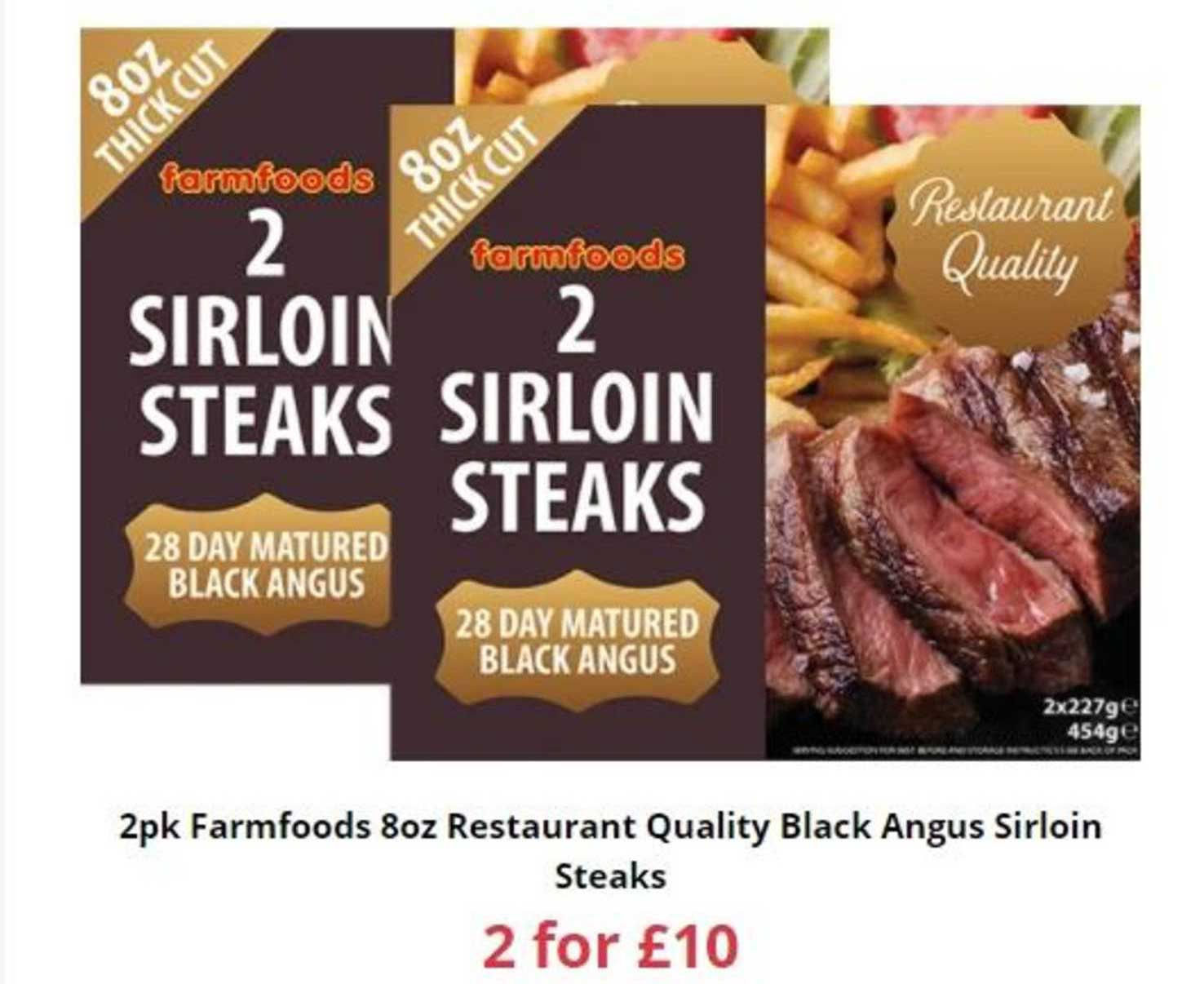 Farmfoods 2pk Farmfoods 8oz Quality Black Angus Sirloin Steaks