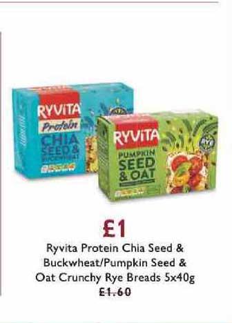Waitrose Ryvita Protein Chia Seed & Buckwheat -pumpkin Seed & Oat Crunchy Rye Breads
