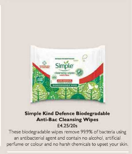 Waitrose Simple Kind Defence Biodegradable Anti-bac Cleansing Wipes